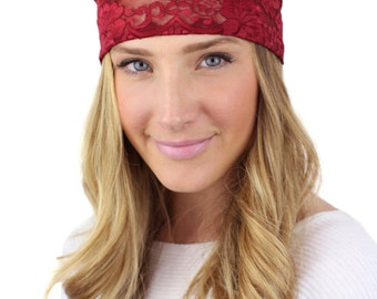 BURGUNDY LACE HEADBAND, deep red wide lace headband