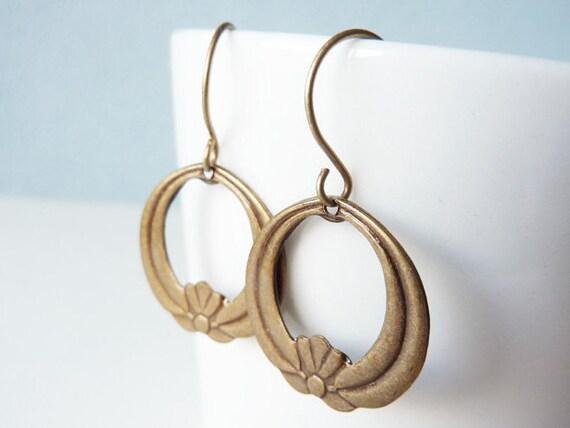Flower Earrings, Lotus Flowers, Hoop Earrings, Brass Earrings, Floral Earrings, Earrings UK