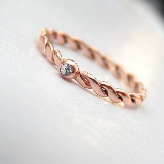Simple Dainty 9kt Rose Gold Engagement Ring by AnnaReiJewellery