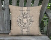 Heraldry French Country Grain Sack Style Pillow Cover - Rustic Château de Versailles Pillow - 16x 18x 20x 22x 24x 26x 28x Inch Cushion Cover
