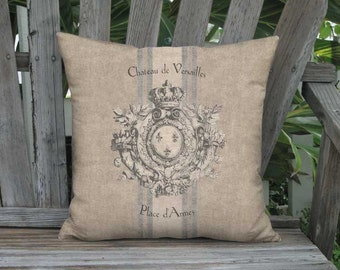 Pillow Cover - Pillow - Heraldry French Country Grain Sack Style Rustic Château de Versailles 16x 18x 20x 22x 24x 26x 28x Inch Cushion Cover