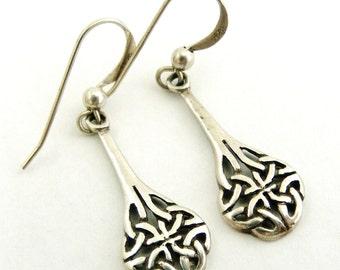 Vintage sterling silver Kit Heath celtic drop earrings