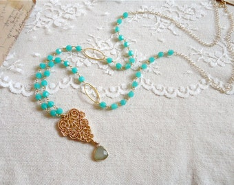 Bohemian style turquoise bead and golden filigree pendant necklace, long length, Summertime After Party
