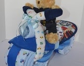 Motorcycle Diaper Cake, Police, Policeman, Police Officer, Law Enforcement, Baby Shower Gift, Centerpiece, Baby Cake