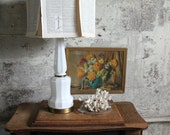 Vintage Milk Glass and Metal Lamp Base No. 1