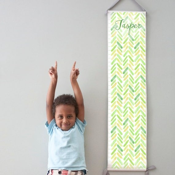 Custom/ Personalized Green and Yellow Watercolor Chevron Growth Chart - Perfect for baby boy nursery or big boy room