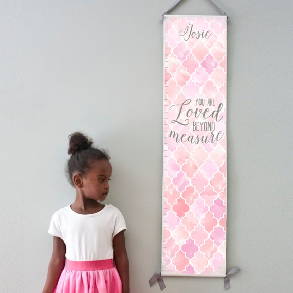 Custom/ Personalized Loved Beyond Measure canvas growth chart with pink and lavender watercolor trellis design