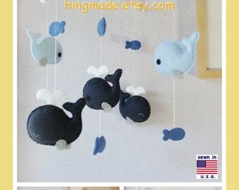 Baby Mobile, Baby Crib Mobile, Baby Boy Mobile, Baby Nursery Decor, Whale Mobile, Navy Blue Gray, Match Bedding Mobile