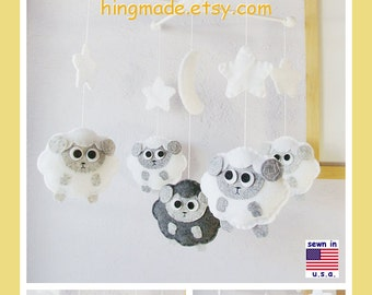 Baby Mobile, Baby Crib Mobile, Sheep Mobile, Mobile, Sleepy Sheep Farm, Starry Night, Gray and White Mobile