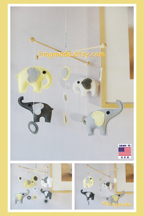 Baby Mobile, Baby Crib Mobile, Nursery Decor, Elephant Mobile, Yellow Elephant Mobile, Polka Dot Mobile, Match Bedding Mobile