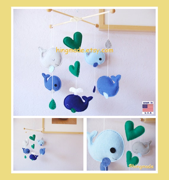 Baby Mobile, Under the Sea Mobile, Whale Mobile, Fish Mobile, Raindrops Mobile, Blue Gray Green, Custom Mobile