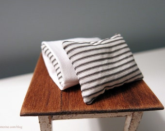 Pair of dollhouse miniature vintage white poplin ticking stripe pillows in pillowcases - made to order