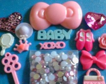 Kawaii decoden phone  deco diy charm big pink bow cabochon kit   B  10---USA seller