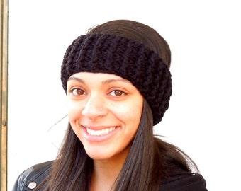 Crochet Headband, Ear Warmer, Black, Women,Teen, Ready To Ship,