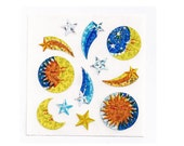Sandylion Stickers: Small Celestial Moons Sun Shooting Stars