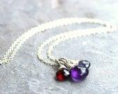 Semi Precious Gemstone Necklace, Trio Brio Amethyst Pendant Necklace Sterling Silver Garnet Iolite