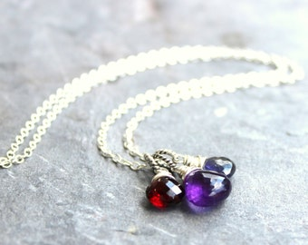 Semi Precious Gemstone Necklace, Trio Brio Amethyst Pendant Necklace Sterling Silver Garnet Iolite
