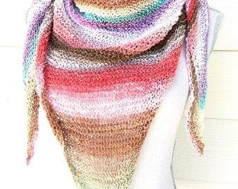 Sunrise Stripes Triangle Scarf Spring Wrap Prayer Shawl Free Shipping Hand Knit