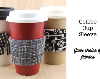 Coffee Cozy - Reversible - Choose Custom Fabrics - Made to Order