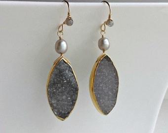 Grey Druzy Earrings, Druzy Drop Earrings, Marquise Drops, Marquise Druzy Earrings, Grey Gemstone Dangle, Grey Pearl Drops:  Ready to Ship