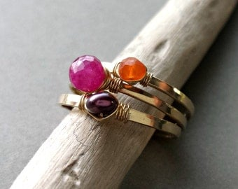 Stackable Gemstone Rings, Ruby Stacking Rings, Adjustable Rings, Gemstone Wire Rings:  Ready to Ship