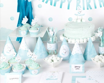 Polar Bear Party Deluxe Printable Party Pack for boys first birthday - Watercolour Party Hats, Cake Topper, Straw Flags & more