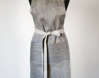 Linen Aprons Unisex Full Apron Natural Gray With Black Apron Men Apron With One Big Pocket Traditional Apron Eco Friendly Apron
