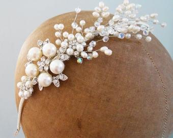 Vintage Style beaded pearl spray headband side tiara hair vine