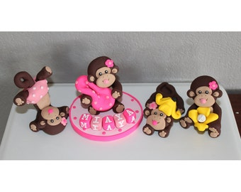 1 Large, 3 Small Custom Monkey Cake Toppers for Birthday or Baby Shower