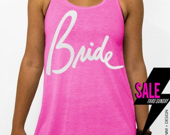 Bride - Script - Pink with White Flowy Racerback Tank Top