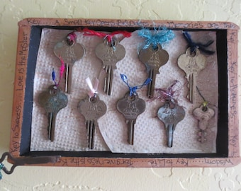 Vintage Keys Mixed Media Collage in Repurposed Cigar Box