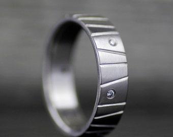 alternative modern wedding band set palladium diamond wedding band engagement ring set unique - Modern Wedding Rings