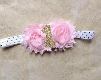 Pink and Gold Number Headband, first birthday, photo prop, headband