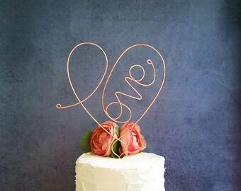 LOVE HEART Wedding Cake Topper, Wedding Cake Decoration, Rustic Weddings Centerpiece, Bridal Shower Decoration, Enagement Party, Anniversary