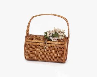 40s FLOWER BASKET PURSE / Sweet 1940s Woven Straw Handbag