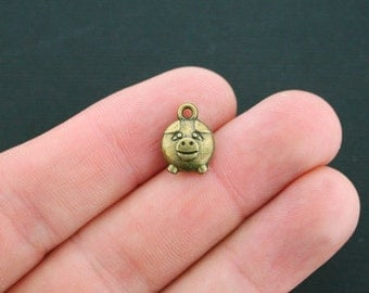 5 Pig Charms Antique Bronze Tone 2 Sided 3D - BC812