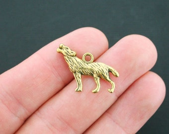 6 Wolf Charms Antique Gold Tone 2 Sided - GC026