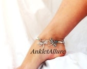 Me n You Dragonfly Anklet Fossil White Beach Anklet Silver Ankle Bracelet