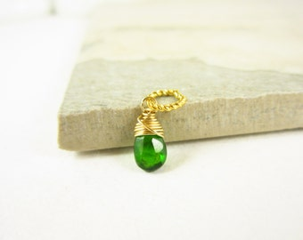 Sm - Chrome Diopside Pendant - Russian Diopside Jewelry - 14k Gold Charms - Wire Wrapped Jewelry Handmade