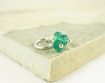 Tiny Trio - Sterling Silver Charms - Dark Green Onyx Jewelry - Onyx Pendant - John Green Jewelry Handmade - Chalcedony - Green and Silver