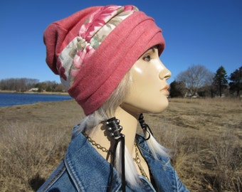 Pink Floral Cuff Beanie Slouch Hat Bohemian Clothes Lightweight Printed Cotton Knit A1167