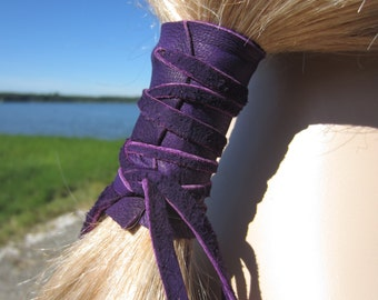 Leather Ponytail Holder Purple Hair Wrap Ties Hair Jewelry BOHO Style Clothing Z101