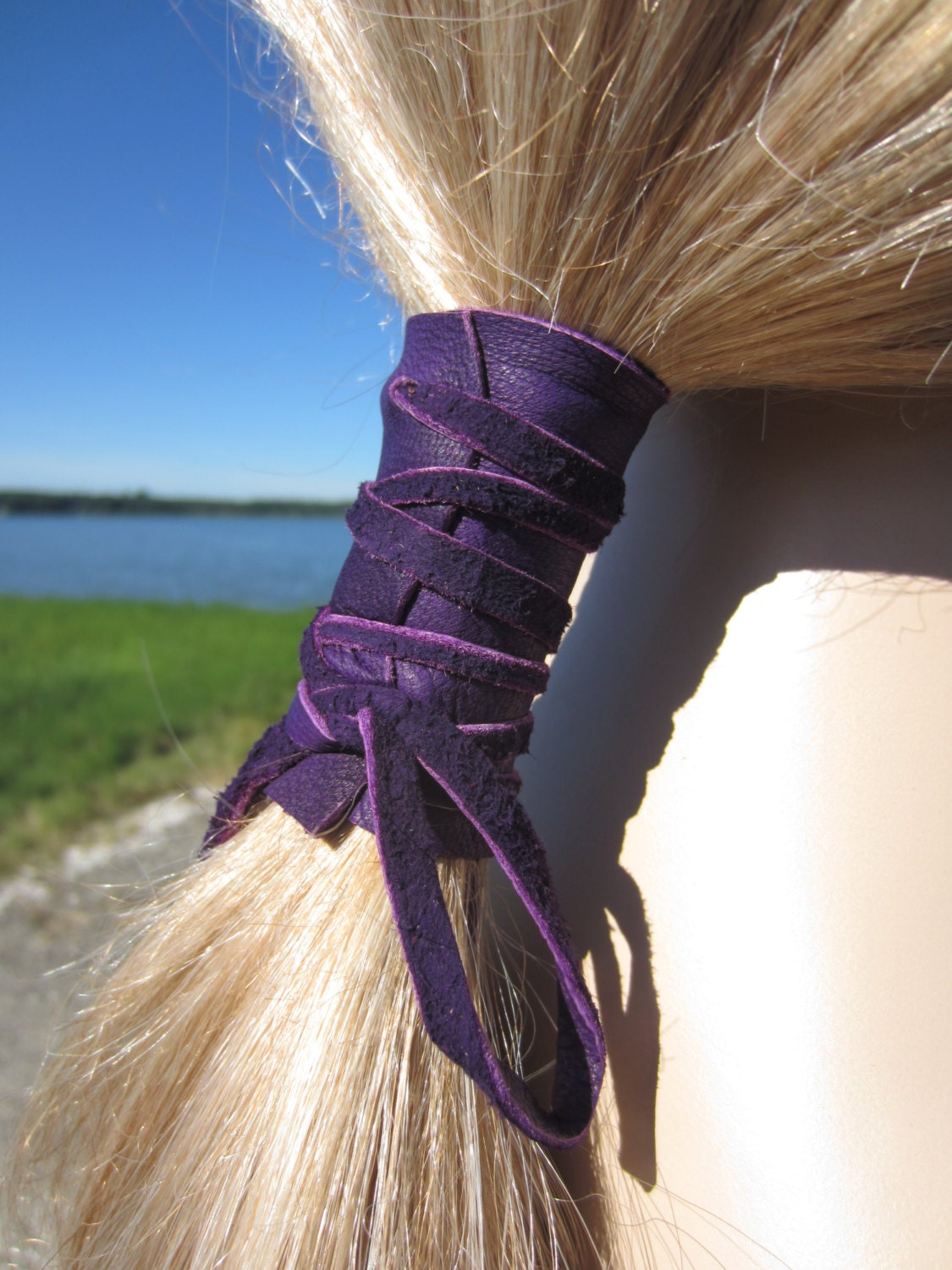 Leather Ponytail Holder Purple Hair Wrap Ties By Vacationhouse