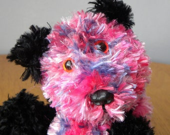 Hand Knitted Teddy for Collectors - Knitted Panda - 9 inches - Pink Knitted Bear - Pink Panda