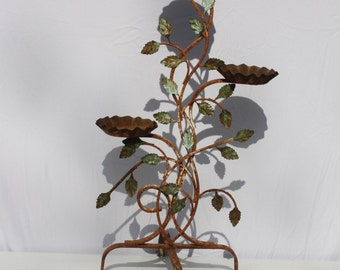 Vintage Metal Plant Stand Wrought Iron Rustic Rusty Distressed 3 Pot Holder Cottage Garden Decor