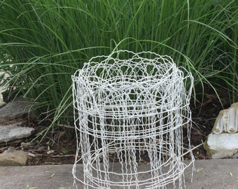 Vintage Wire Fence White Fencing Metal Garden Fencing Architectural Salvage Photo Display Memo Board Rustic