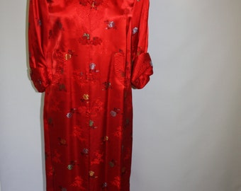 Vintage Asian Style Red Jacket Dress Cheongsam Dress Brocade Shanghai
