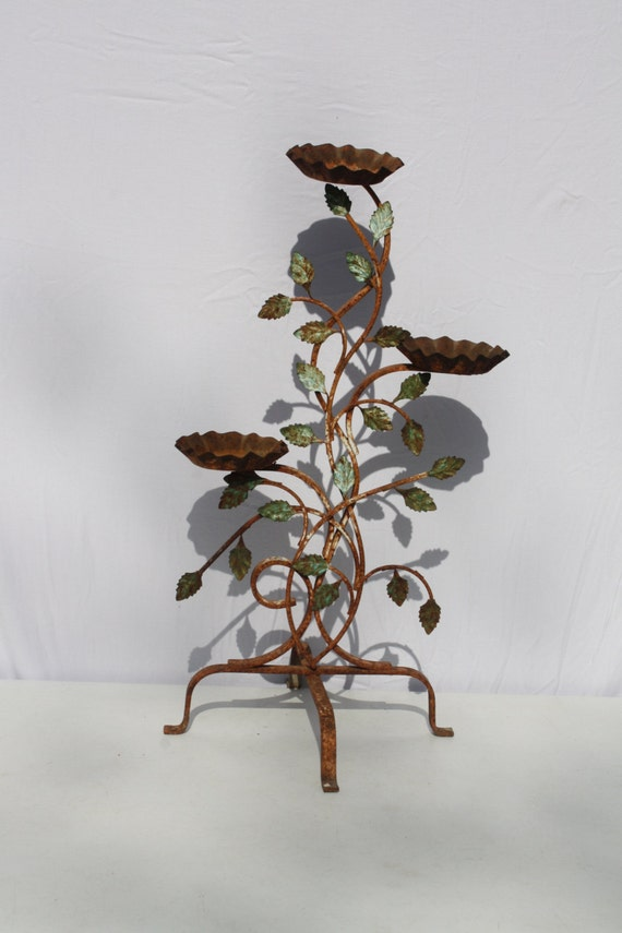 Vintage Metal Plant Stand Wrought Iron Rustic Rusty Distressed