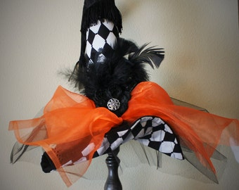 Witch Hat - Black and White Harlequin Diva Witch Hat - Witch Hat Halloween Decoration- Witch Hat Halloween Decoration - by JoJo's Bootique
