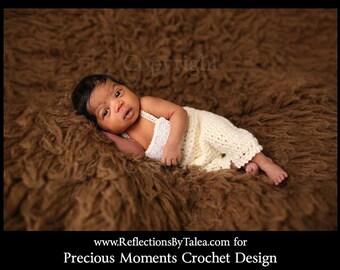 Newborn Romper,  Newborn Overall, Crochet Romper, Newborn Romper with Lace, Newborn Photo Prop, Cream Romper, Newborn Pants, Girl Overalls